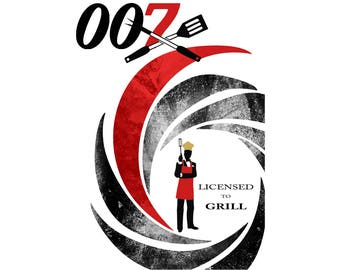 T-SHIRT: James Bond 007 / Licensed To Grill - Classic T-Shirt & Ladies Fitted Tee - (LazyCarrot)