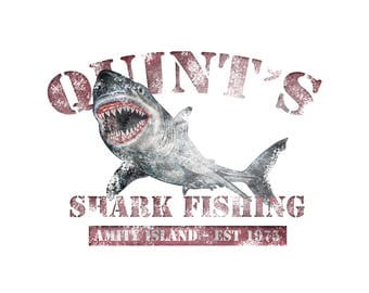T-SHIRT: Jaws / Quint's Shark Fishing - Classic T-Shirt & Ladies Fitted Tee - (LazyCarrot)