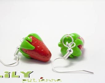 Strawberry polymer clay earring