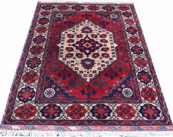 4'10X3'4 ft Double knotted excellent fine quality Afghan Belgique Red Rug Afghan area rug living room rug floor rug hand-Knotted