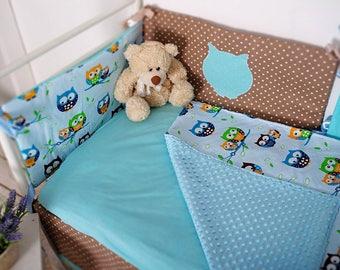 Blue with Owls Bedding. Baby Bedding. Crib Sheet. Crib Skirt. Minky Blanket
