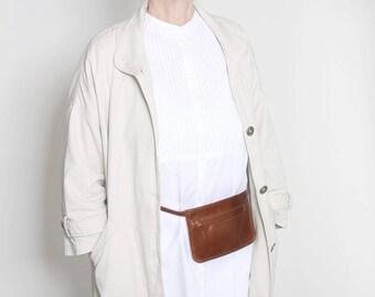 Genuine leather belt bag, belt bag cognac brown, small waist pocket with belt, festival bag, real leather, belt bag, waist bag