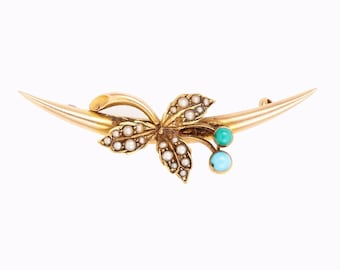 Antique Vintage Victorian 18k Rose Gold, English Seed Pearl and old Persian Turquoise Brooch Pin