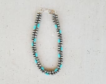 Silver Navajo Pearls Necklace and Turquoise Necklace