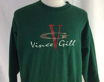 Vintage 90s Vince Gill Country Music Singer Green Crew Neck Size XL