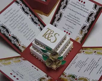 Exploding Foiled Fancy Wedding Invitation Boxes