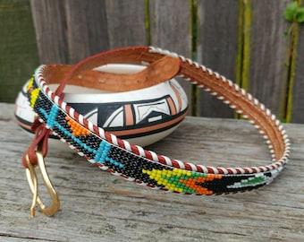 Vintage Native American Style Thunderbird Beaded Leather Belt // Sz S-M Boho, Festival Fashion, Rockabilly Belt // Southwestern Fashion