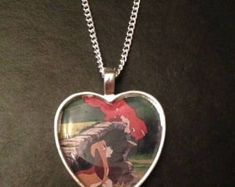 Cute Heart Shaped Silver Plated Pendant Charm Disney Fox and the Hound
