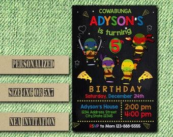 Ninja Turtle Invitation,Ninja Turtle Birthday Invitation,Ninja Invitation,TMNT Invitation,Ninja Birthday,TMNT Birthday,Ninja Party,Ninja FF