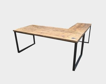 Reclaimed L-shape Desk - Industrial Style