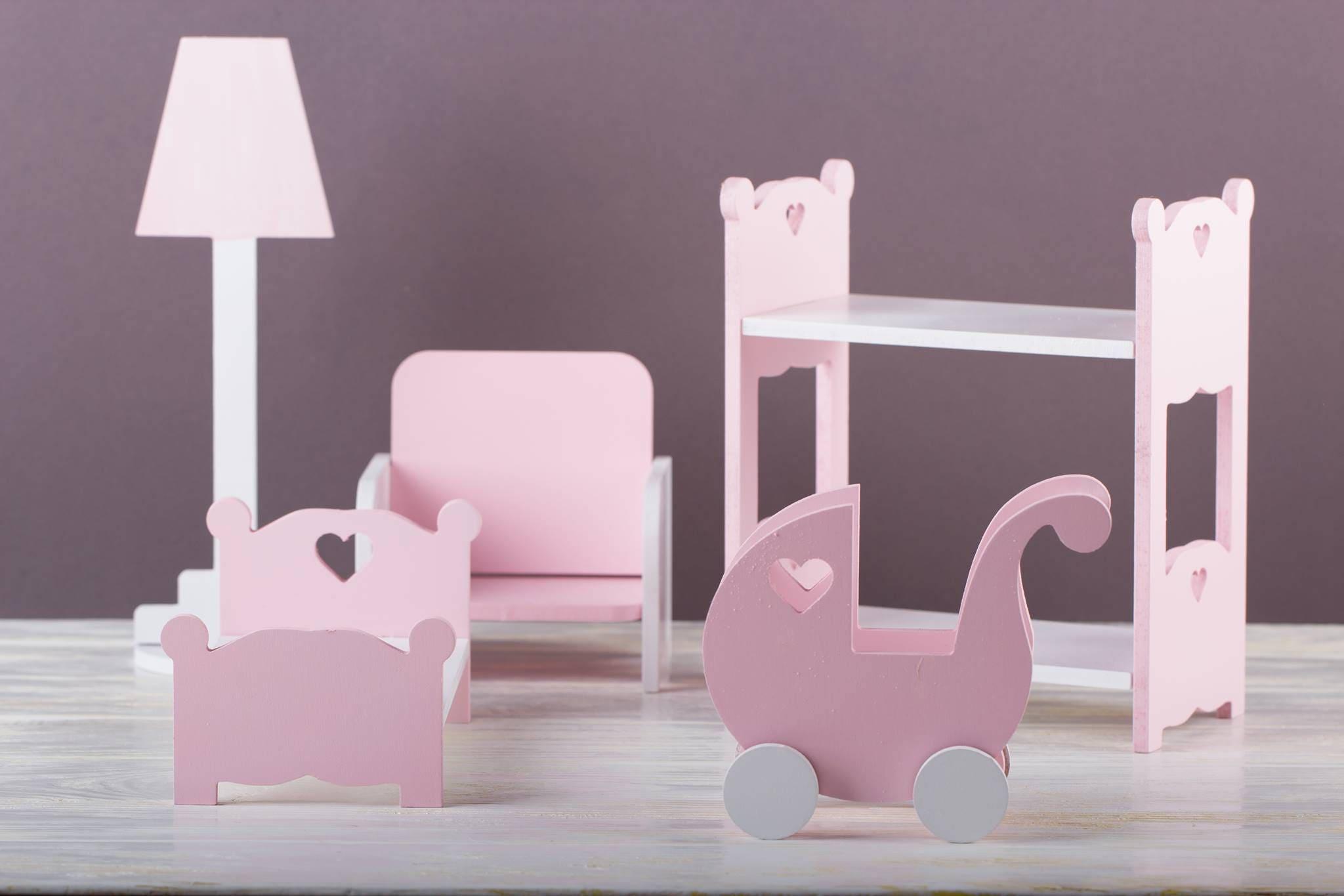 Nursery Furniture Set   Barbie Furniture   Wooden Dollhouse Furniture    Nursery Decor   Eco Toys