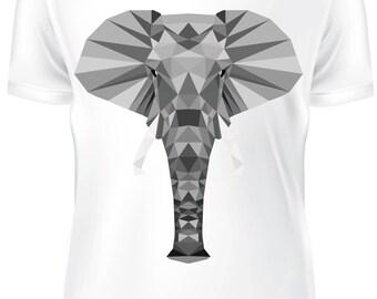 White T-shirt - Elephant low poly grey - B-WD-015