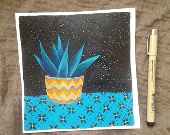 """Illustration gouache and ink """"Succulent night"""""""