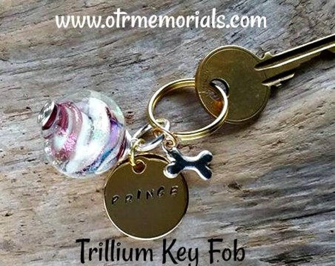 Memorial Charm Key Fob & personalized name tag, Ashes in Glass, Pet Memorial, Cremation Jewelry