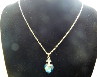 Blue Swarovski bicones and Heart Necklace