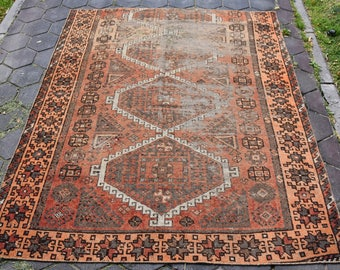 Faded Vintage Turkish Rug Anatolian Faded Rug Free Shipping 4.9 x 6 feet Bohemian Rug Home Design Rug Kitchen Rug Oushak Rug Aztec Rug DC626