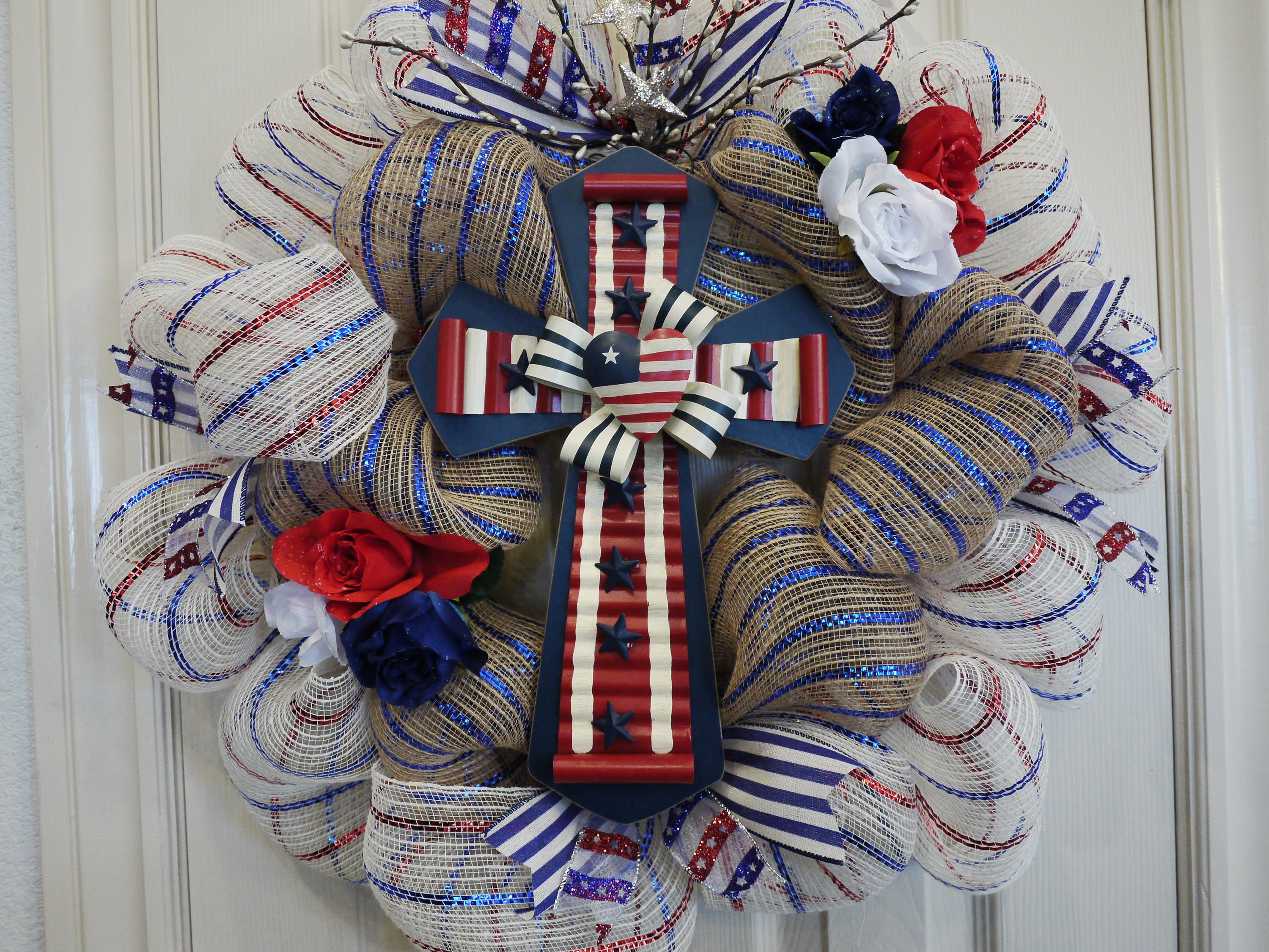 Free Shipping Patriotic Wreath Cross 4th of July