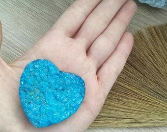 Blue Druzy Aura Quartz Heart / Crystal / Gemstone