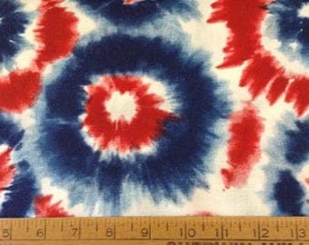 Red, white and blue tie dye print cotton fabric by the yard