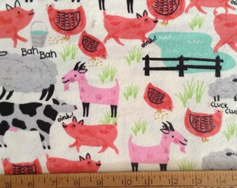 Flannel/Farm animals on off-white background cotton fabric by the yard
