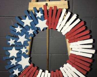Red, white, and blue clothes pin wreath