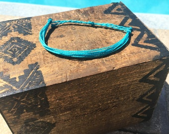 Turquoise Basic Stackable Bracelet, Wax String Bracelet, Friendship Bracelet, Waterproof Bracelet