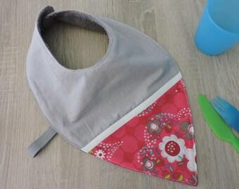 """flower"" bandana bib reversible cotton Terry"