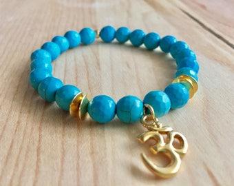 Om Bracelet. Turquoise Bracelet. Chakra Bracelet. Calming Stone. Mala Beads. Yoga Bracelet. Om Charm.