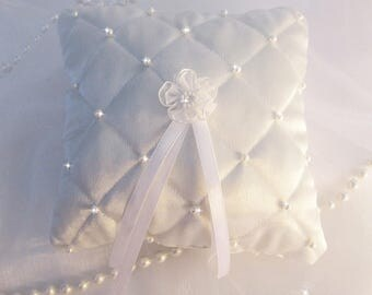 White quilted satin ring bearer pillow