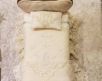 Miniature dollhouse bed made from vintage handkerchief and lace,  1:12 scale.