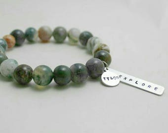 Forest Natural Stone Customizable Bracelet