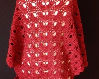 Crochet Virus Shawl, Bordeaux Red, Shiny wool
