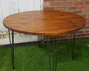 Rustic Industrial Wooden Round Table Metal Hairpin Legs