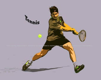 Tennis Player, Print or Canvas, Tennis Fan Poster, Tennis Lover Decor, Sports Fan Wall Art, Kids Room Picture, Man Cave, Fun Sports Gift