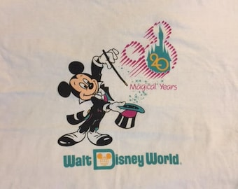 Vintage 80's Mickey Mouse Magical Years 20 Walt Disney World  t shirt XL