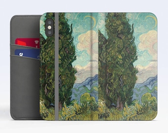 "Vincent van Gogh, ""Cypresses"". iPhone X Flip case, iPhone 8 Flip case, iPhone 7 Flip case, iPhone 6 Flip case. Samsung Flip cases."