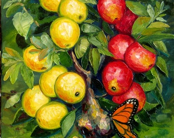 Butterfly Teasing Apple Tree Bykova Original Oil Painting Mother Girlfriend Birthday Gift Present New Home Wall Decor Ready to Hang Impasto