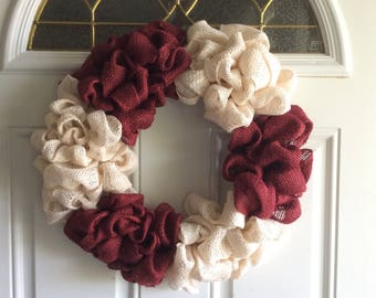 Burlap burgundy/off white wreath