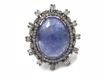Tanzanite diamond ring, Sterling silver ring, Diamond ring, Size 7, Tanzanite jewelry, Diamond jewelry, Statement ring