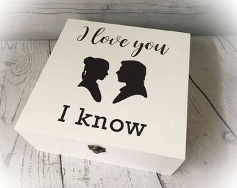 White Wooden Box Star Wars I Love You / I Know Princess Leia Han Solo GIFT