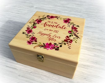Gorgeous Personalised Floral Wreath Wooden Wedding Box - Gift