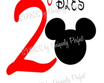 Mickey Mouse oh twodles birthday present cutting file svg png