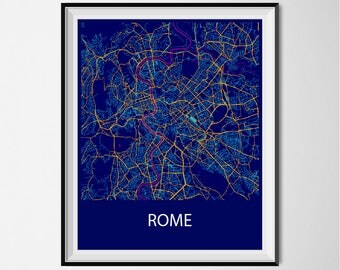 Rome Map Poster Print - Night