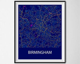Birmingham Map Poster Print - Night