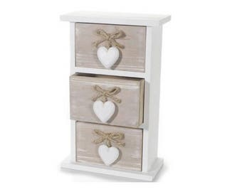 Wooden chest of drawers 3 compartments with heart