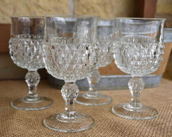 Set of Four (4) Indiana Glass Diamond Point Clear Goblets