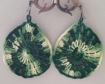 Large teardrop shaped earrings in variegated green