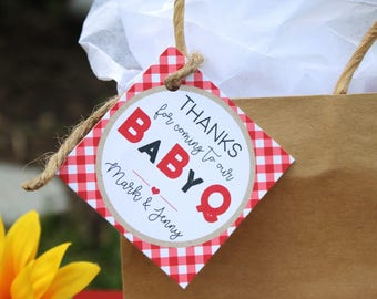 Baby-Q Baby Shower Favor Tags/Stickers - BBQ Baby Shower Favors - BabyQ Thank You Tags OR Stickers, Set of 12