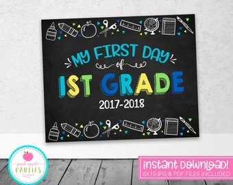 First Day of 1st Grade Chalkboard Sign - First Grade Sign - Blue, Green, Yellow, Turquoise - 8x10 Instant Download Printable Sign