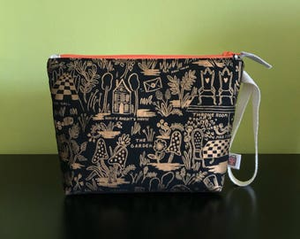 """Handmade small zipper purse for notions and accessories 8.5"""" x 6.5"""" x 6"""" x 2""""  *Magical Landscape*"""